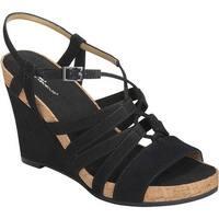 A2 by Aerosoles Women's Poppy Plush Strappy Sandal Black Faux Suede