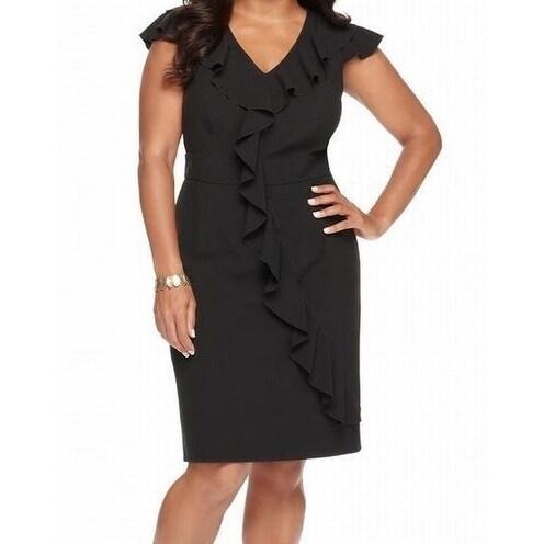 52b0abc630e Shop Spense NEW Black Womens Size 20W Plus V-Neck Ruffled-Trim Sheath Dress  - Free Shipping On Orders Over  45 - Overstock.com - 18307246