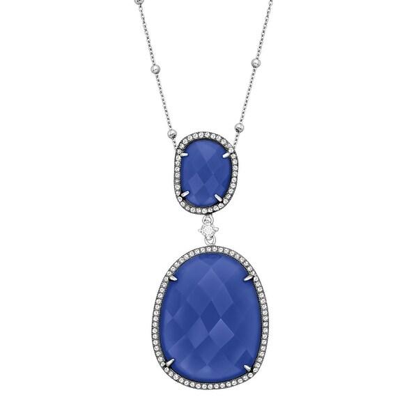 Blue Milky Cubic Zirconia Drop Pendant in Sterling Silver