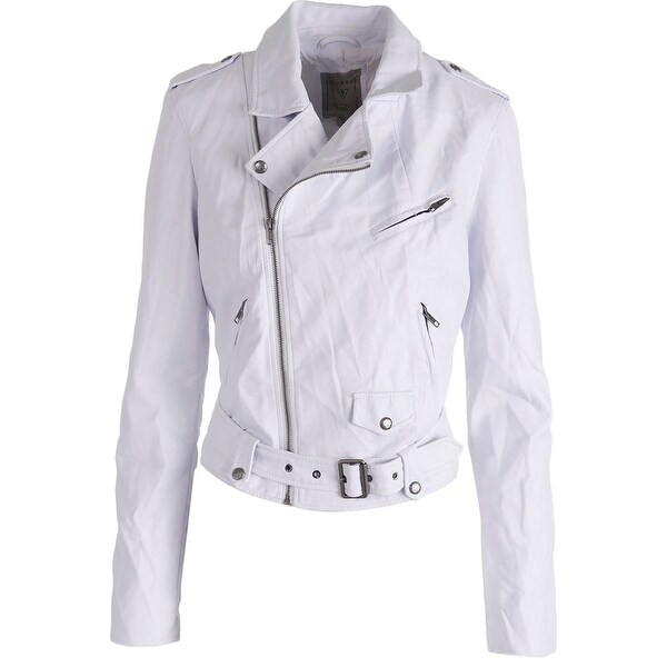 548fea204 Shop Guess Womens Motorcycle Jacket Faux Leather Asymmetric - Free ...