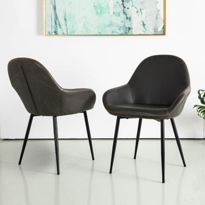 Glitzhome Vintage Leatherette Dining Accent Arm Chair (Set of 2)