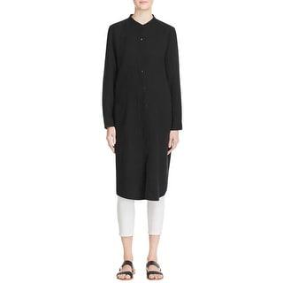 Eileen Fisher Womens Tunic Dress Cotton Mandarin Collar
