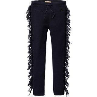 Knitted Leggings With Fringe - Navy (Option: 12)