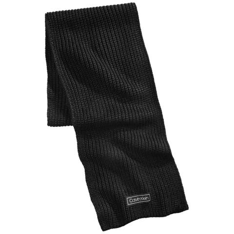 Calvin Klein Mens Winter Scarf Knit Ribbed - Black - O/S