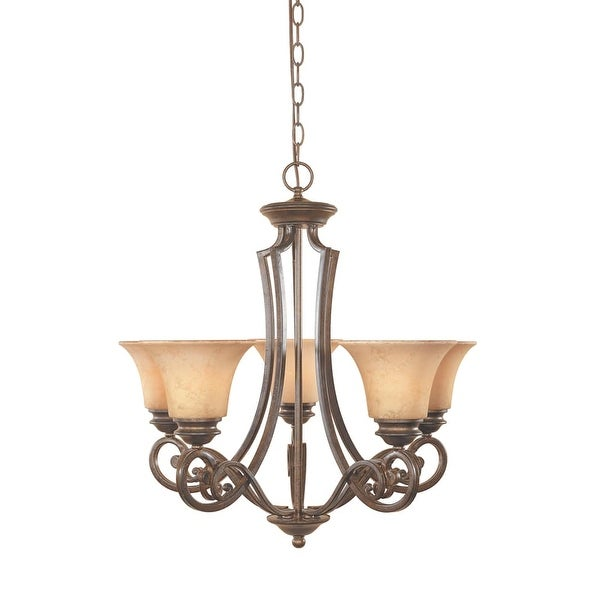 Designers Fountain 81885 Five Light Up Lighting Chandelier from the Mendocino Collection - forged sienna