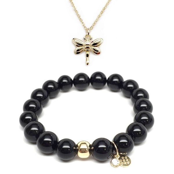 Black Onyx Bracelet & Dragonfly Gold Charm Necklace Set