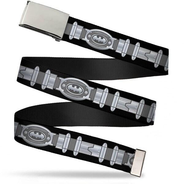 Blank Chrome Buckle Batman Utility Belt Black Gray Webbing Web Belt