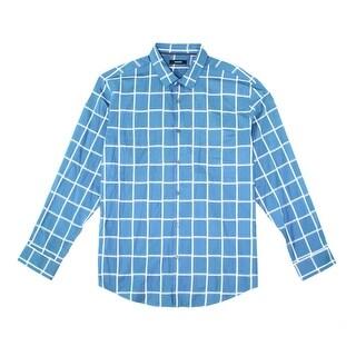 Alfani NEW Blue White Mens Size Medium M Grid Button Down Shirt