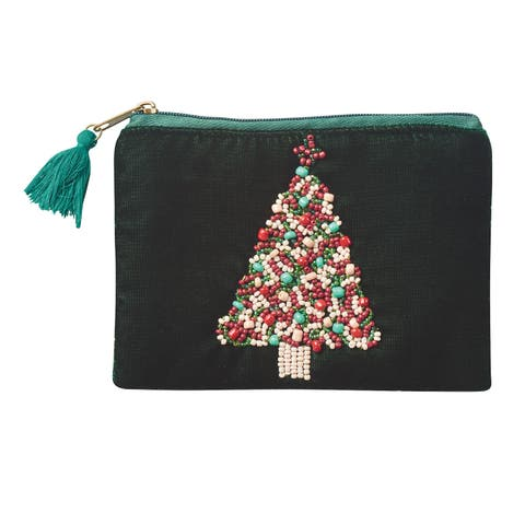 Women's Velvet Holiday Coin Purses - Embroidered Pouch - Joy, Snowman, Tree - One size