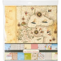 """Scrapberry's The Pirate's Treasure Paper Pack 12""""X12"""" 16/Pkg-8 Double-Sided Designs/2 Each"""