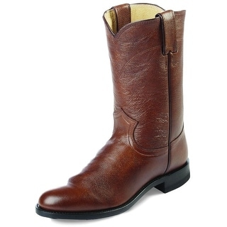 Justin Western Boots Mens Leather Cowboy Round Roper Corona Tan 3714