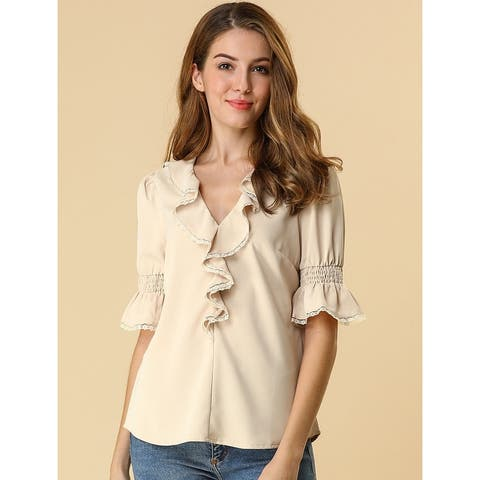 Women's Ruffle V Neck Half Bell Sleeve Blouse Summer Vintage Casual Chiffon Peasant Top