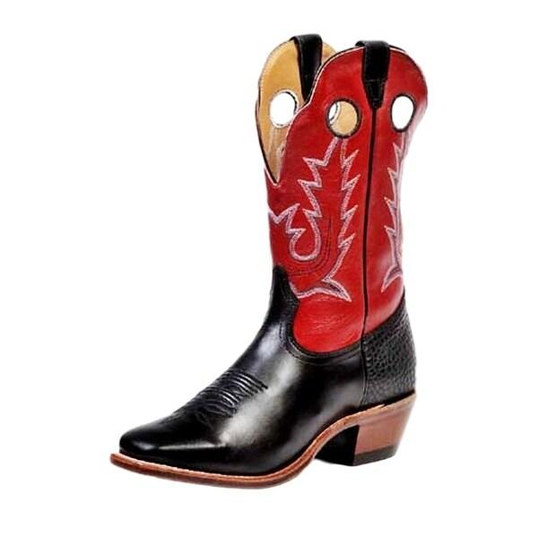 Boulet Western Boots Mens Cowboy Vintage Torino Black Calf Red