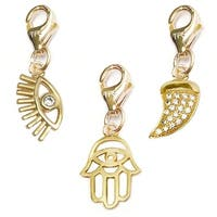 Julieta Jewelry Lucky Eye, Protection Hand, Horn 14k Gold Over Sterling Silver Clip-On Charm Set