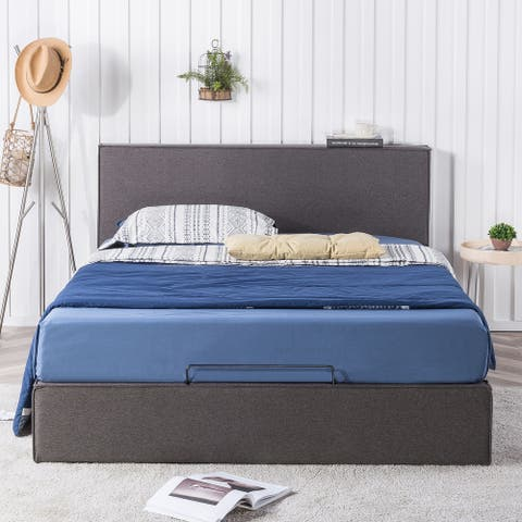 Priage by ZINUS Dark Grey Upholstered Platform Bed Frame with Storage