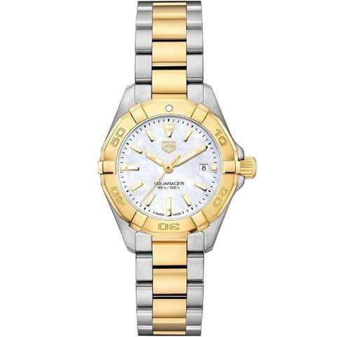 Tag Heuer Women's WBD1420.BB0321 'Aquaracer' 18kt Yellow Gold Two-Tone Stainless Steel and Gold Watch - White