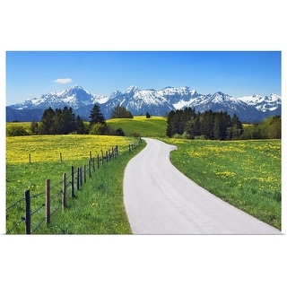 """""""Countryside near the Alps with dandelions"""" Poster Print"""