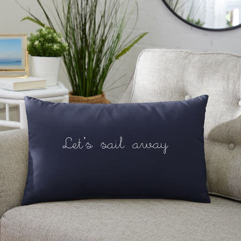 "Let's Sail Away Indoor/Outdoor Embroidered Lumbar Pillow, Knife Edge - 13"" x 20"""