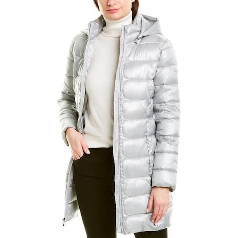 Via Spiga Packable Mid-Length Hooded Puffer Jacket - FI4-SILVER CLOUD