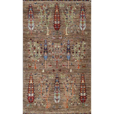 """Pictorial Floral Kazak Oriental Wool Area Rug Hand-knotted Carpet - 3'4"""" x 5'2"""""""