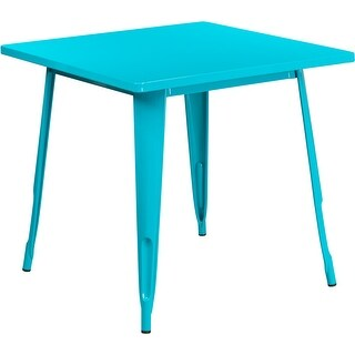 Brimmes Square 31.5'' Crystal Teal-Blue Metal Table for Patio/Bar