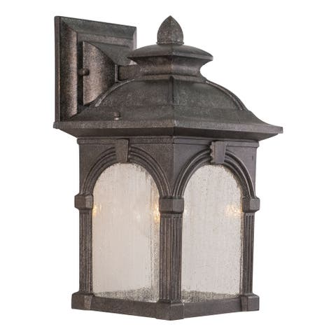 Essex Aluminum 1 Light Pewter Outdoor Wall Lantern Clear Glass - 7-in W x 13-in H x 8-in D