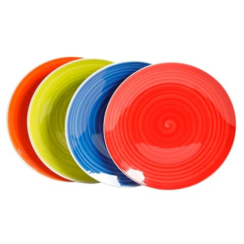 Gibson Home Crenshaw 4 Piece Fine Ceramic Dinner Plate Set in Assorted Colors