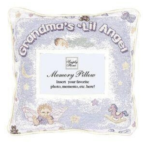 "12"" Grandma's Lil Angel Decorative Photo Memory Throw Pillow"