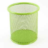 Unique Bargains Light Green Metal Mesh Cylinder Design Pen Pencil Holder Container