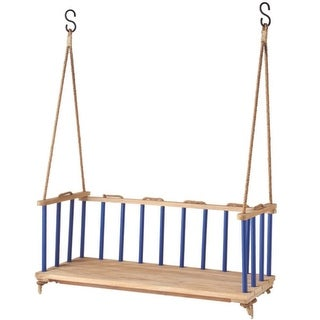 "47"" Casual Style Blue Mango Wood Outdoor Patio Garden Swing Bench Seat"