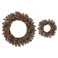 "Set of 2 Sparkling Mocha Brown Artificial Christmas Wreaths 10""/18"" - Unlit"