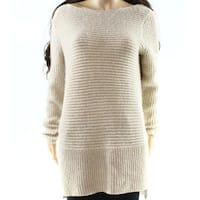 Rafaella Beige Women's Size XL Hi-Low Shimmer Boat Neck Sweater