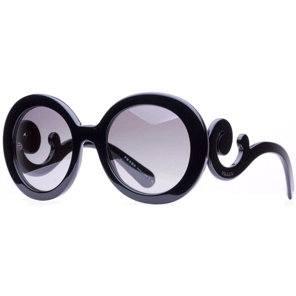 Prada SPR 27N 1AB-3M1 Black Baroque Swirl Women's Round Sunglasses - Shiny Black - 55mm-22mm-135mm