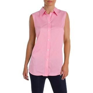 Lauren Ralph Lauren Womens Tank Top Collared Button-down
