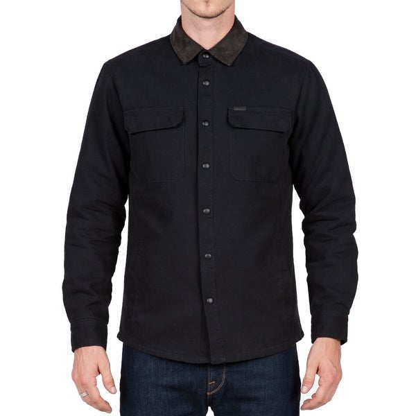 Shop Volcom New Black Mens Size Large L Corduroy Collar Button Down