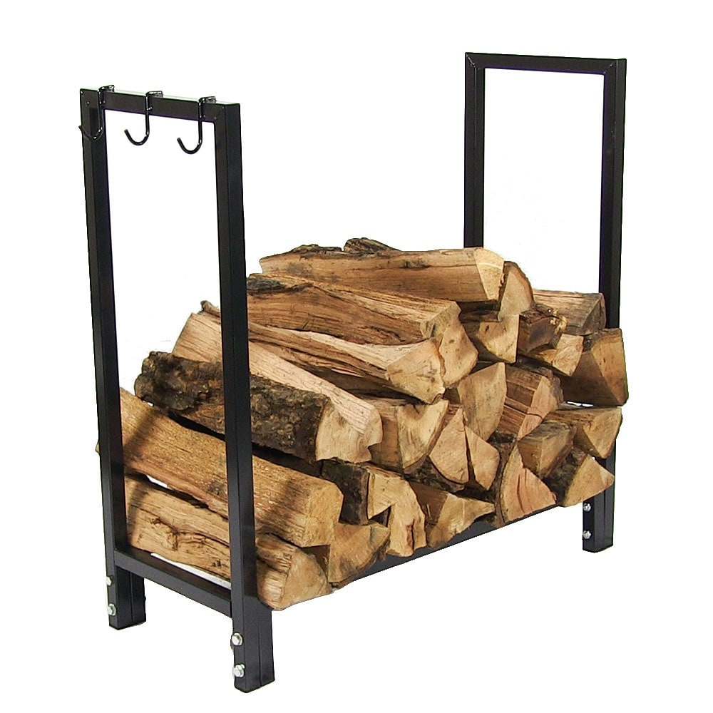 Sunnydaze 30 Inch Black Steel Firewood Log Rack - Thumbnail 8