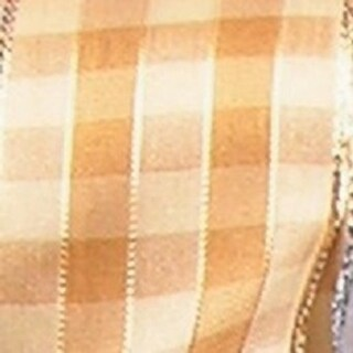 """Amber and Gold French Checkered Susi Wired Woven Polyester Decorative Ribbon 1.5"""" x 27 Yards"""