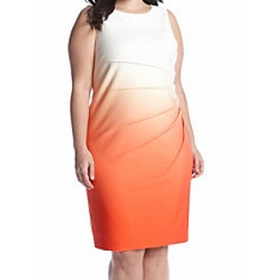 5346ffe0a4e35 Shop Calvin Klein NEW White Orange Women s Size 22W Plus Sheath Ombre Dress  - Free Shipping On Orders Over  45 - Overstock - 17493348