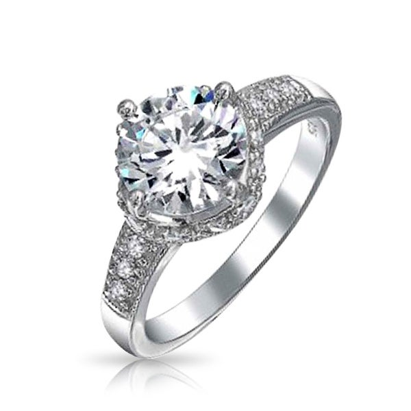 d57f09467085ec Thin 3CT Round Crown CZ Pave Halo Cubic Zirconia Band Solitare Promise Engagement  Ring 925 Sterling