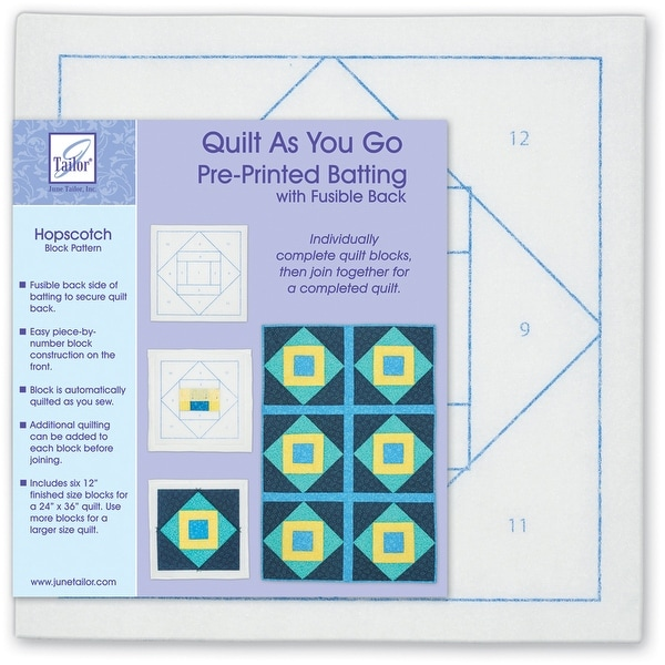 Quilt As You Go Printed Quilt Blocks On Batting-Hopscotch