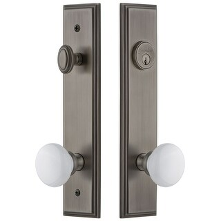 Grandeur CARHYD_TP_ESET_234_RH  Carre Solid Brass Tall Plate Single Cylinder Keyed Entry Set with Hyde Park Knob and 2-3/4""