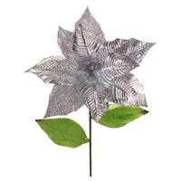 Club Pack of 24 Festive Artificial Metallic Glittered Poinsettia Stem 25""
