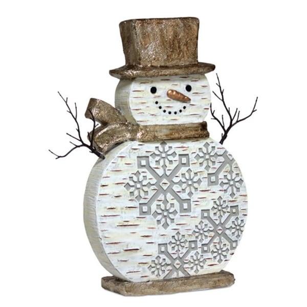 "20.5"" Festive Birch Bark Snowman Adorned with Snowflakes Christmas Decoration Figure - WHITE"