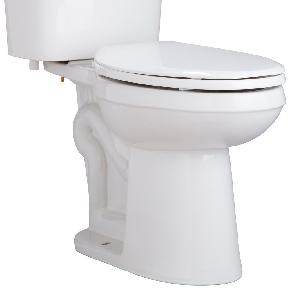 White ProFlo PFTSWEC2000 Elongated Closed Front Toilet Seat and ...