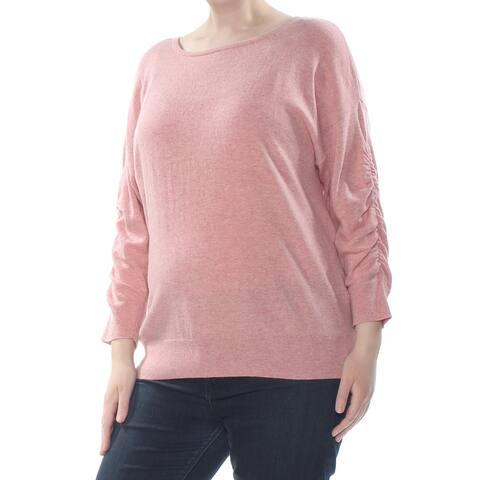 INC Womens Pink Ruffled Long Sleeve Sweater Plus Size: XXL