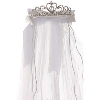 Rain Kids Girls White Virgin Mary Double Layer Communion Flower Girl Veil Tiara
