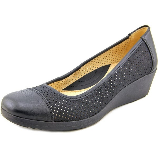 Naturalizer Bartow Women Open Toe Synthetic Black Wedge Heel