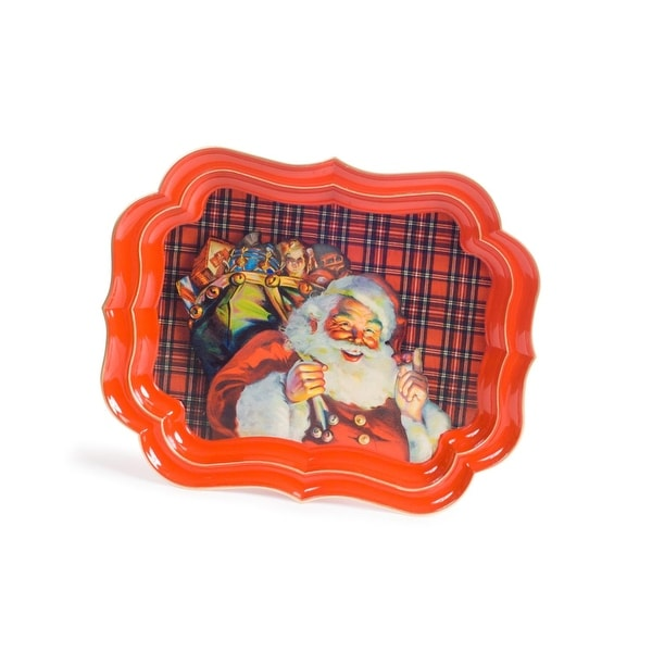 Pack of 2 Santa Claus and Gift Sack Plaid Serving Platter 19.75""