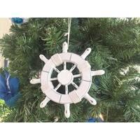 6 in. Rustic White Decorative Ship Wheel Christmas Tree Ornament