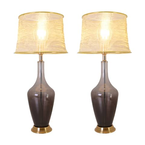 """Carnation 31"""" Table Lamp with Foldable&Translucent Golden Yarn Lampshade (Set of 2)"""